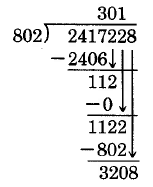 The third step of a long division problem. 802 goes into 1122 once, so a 1 is placed above and the ones digit is brought down.
