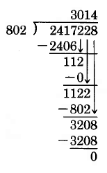 The third step of a long division problem. 2417228 divided by 802. 802 goes into 2417 approximately 3 times, with a remainder of 11. The hundreds digit of 2417228 is then brought down to adjoin the 11. 802 goes into 112 0 times, so a zero is placed above, and the next digit is brought down. 802 goes into 1122 once, so a 1 is placed above and the ones digit is brought down. 802 goes into 3208 4 times, leaving a remainder of 0.