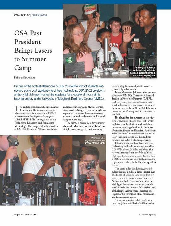 Headline: OSA Past President Brings Lasers to Summer Camp. Pictures Anthony Johnson with middle schoolers around a laser setup.