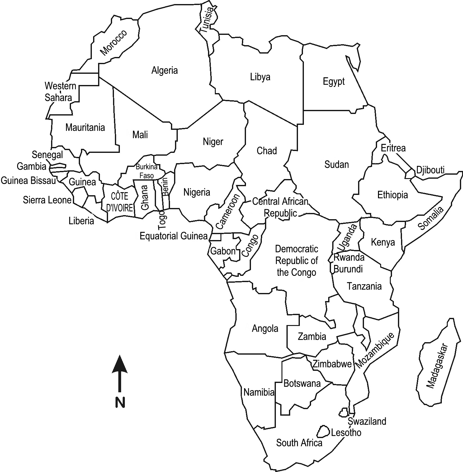africa map answer key