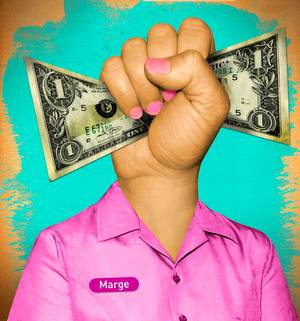 A fist clutching money stands out from the collar of a pink shirt.