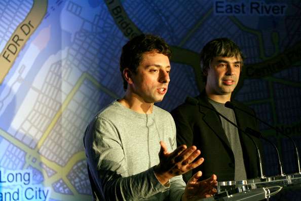 Google's founders presenting