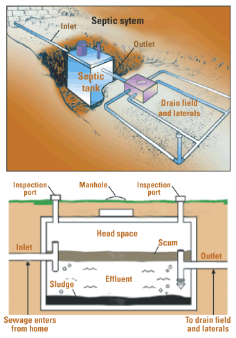 Diagram of a typical septic system
