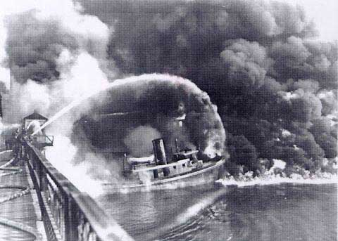 photograph of Cuyahoga River on Fire