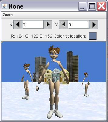 Image of three ice skaters on the frozen lake. However, the image of the ice skater is transparent in the areas of the blue costume allowing the background to show through.