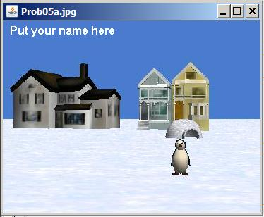 Spacer image of a penguin in the snow in front of some houses.