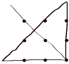 An array of 9 large dots, with an oversized line making a triangle partially outside the dot array and passing through every dot, this time from the opposite side.