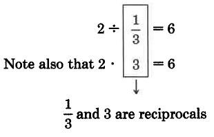 Two divided by one-third is equal to six. Note also that two times three is equal to six, because one-third and three are reciprocals.