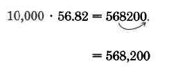 10,000 times 56.82 equals 568200. An arrows shows  how the decimal in 56.82 is moved four digits to the right to make 568,200.