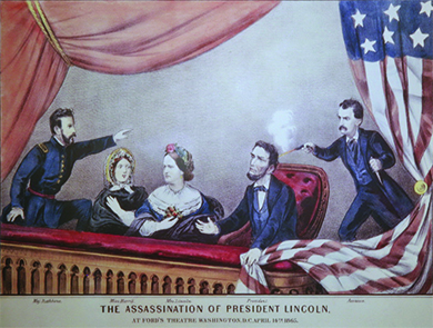 An illustration shows John Wilkes Booth shooting Lincoln in the back of the head as he sits in the theater box with his wife, Mary Todd Lincoln, and their guests, Major Henry R. Rathbone and Clara Harris. Rathbone stands and points at Booth as the women look on in horror.