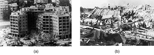 Photograph (a) shows the bombed remains of the U.S. Embassy in Beirut. Photograph (b) shows the ruins of the U.S. Marine barracks at the Beirut airport.