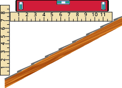 "The figure shows a  diagonal side-view slice of a pitched roof. A ruler in vertical position is at the bottom of the roof segment and shows unit labels 1 through 8 and extends one further unit. A second ruler starts at the ""7"" label of the vertical ruler and extends horizontally until it hits the rising roof. The horizontal ruler has unit labels 1 through 11 and extends one further unit."