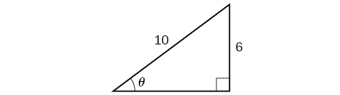 An illustration of a right triangle with the angle theta. Opposite to the angle theta is a side with a length of 6 and a hypoteneuse of length 10.