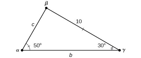 An oblique triangle with standard labels. Angle alpha is 50 degrees, angle gamma is 30 degrees, and side a is of length 10. Side b is the horizontal base.
