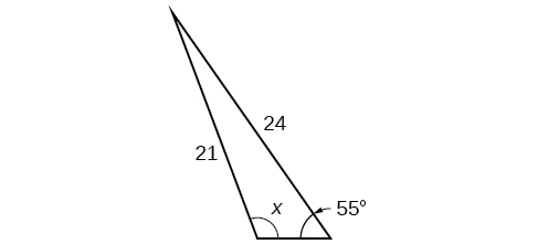 A triangle. One angle is 55 degrees with side opposite = 21. Another angle is x degrees with opposite side = 24.