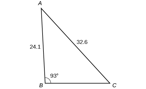 A triangle. One angle is 93 degrees with opposite side = 32.6. Another side is 24.1.