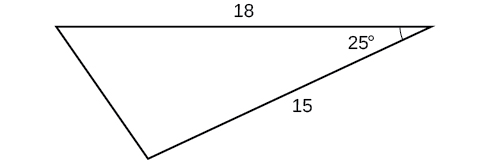 A triangle. One angle is 25 degrees. The two sides adjacent to that angle are 18 and 15