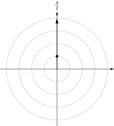 On the polar coordinate plane, a ray is drawn from the origin marking π/2 and a point is drawn when this line crosses the circle with radius 1.