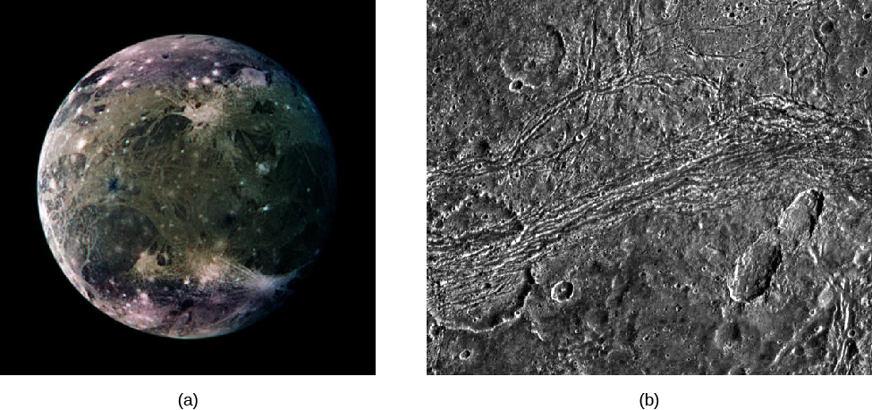 Image A is a global view of Ganymede. Image B is a close up of the Nicholson Regio on the surface of Ganymede, showing an old impact crater that has been deformed by tectonic forces.