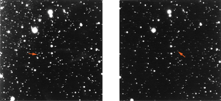 An image demonstrating the motion of Pluto. On the left Pluto's location in the night sky on January 23, and on the right Pluto's location has moved on January 29.