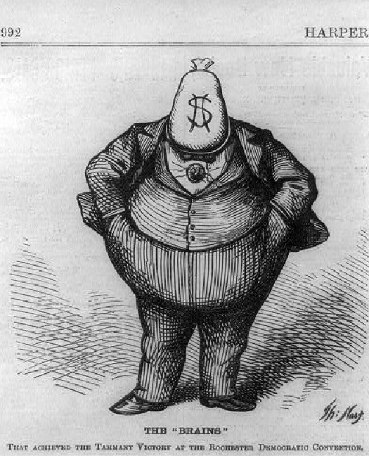 "An image of a corpulent cartoon figure wearing a suit, hands in pockets, with a bag of money instead of a head. Text under the figure reads ""The ""Brains"" ""."