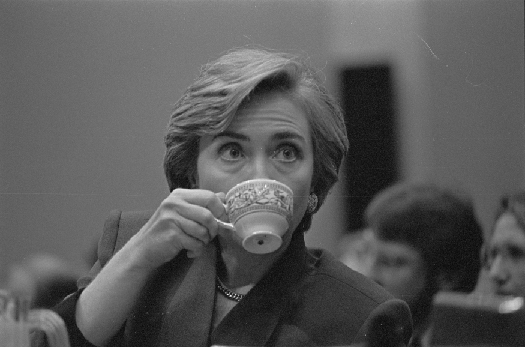 A photo of Hillary Clinton sipping tea.