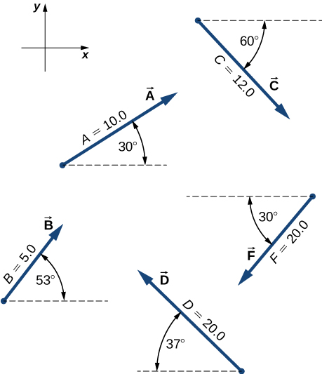 The x y coordinate system is shown, with positive x to the right and positive y up. Vector A has magnitude 10.0 and makes an angle of 30 degrees above the positive x direction. Vector B has magnitude 5.0 and makes an angle of 53 degrees above the positive x direction. Vector C has magnitude 12.0 and makes an angle of 60 degrees below the positive x direction. Vector D has magnitude 20.0 and makes an angle of 37 degrees above the negative x direction. Vector F has magnitude 20.0 and makes an angle of 30 degrees below the negative x direction.