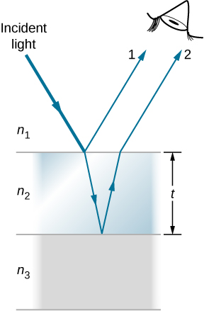 Picture is a schematic drawing of the light undergoing interference by a thin film with the thickness t. Light striking a thin film is partially reflected (ray 1) and partially refracted at the top surface. The refracted ray is partially reflected at the bottom surface and emerges as ray 2.