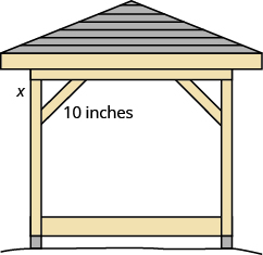 A gazebo is shown. In one of its corners, a triangle is made with the wood. The hypotenuse is marked 10 inches, and one of the legs is marked x