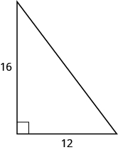 A right triangle with legs marked 16 and 12.