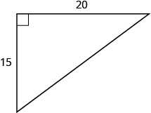 A right triangle with legs marked 15 and 20.