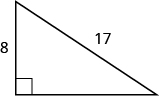 A right triangle with one leg marked 8 and hypotenuse marked 17.
