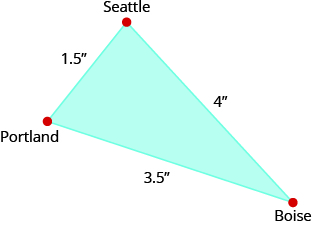 "The above image is a triangle with one side labeled ""Seattle, 4.5 inches"". The other side is labeled ""Portland 3.5 inches"". The third side is labeled 1.5 inches. The vertex is labeled ""Boise."""