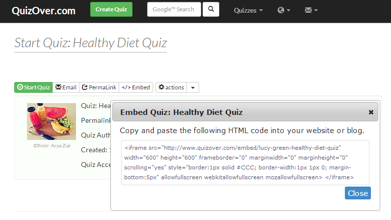 Embed Your Quiz in Website or Blog