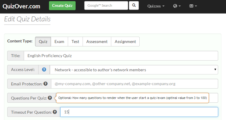 Limit The Number of Questions Per Quiz Response