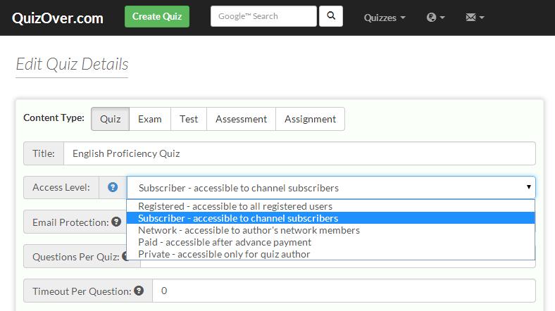 6 Quiz Access Levels
