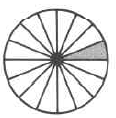 A whole circle divided into sixteen equal parts, with one part shaded.