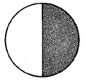 A whole circle divided into two equal parts, with one part shaded.