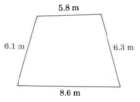 A four-sided polygon with sides of the following length: 6.1m, 8.6m, 6.3m, and 5.8m.
