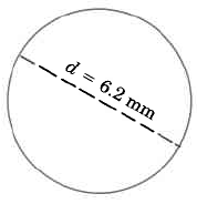 A circle with a dashed line from one edge to the other, labeled d = 6.2 mm.