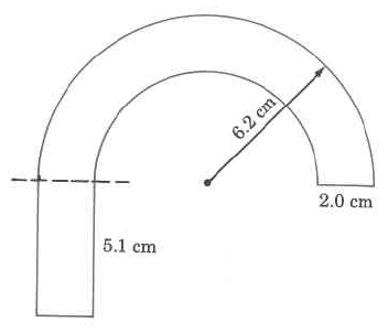 A cane-shaped object of an even thickness, with one straight portion and one portion shaped in a half-circle. The thickness is 2.0cm, the length of the straight portion is 5.1cm, and the radius of the semicircle portion is 6.2cm.