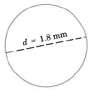 A circle with a line through the middle, ending at the edges of the circle. The line is labeled, d = 1.8in.