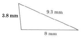 A triangle with sides of length 8mm, 9.3mm, and 3.8mm.