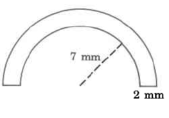 A tube in the shape of a half-circle with straight ends. The ends have a width of 2mm, and the inner side of the circular tube has a radius of 7mm.