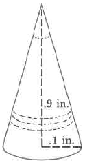 A cone with height .9in and radius .1 in.