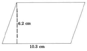 A parallelogram with base 10.3cm and height 6.2cm