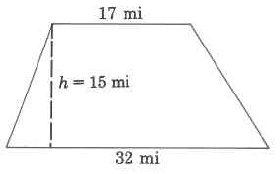 A trapezoid with height 15mi, bottom base 32mi, and top base 17mi.