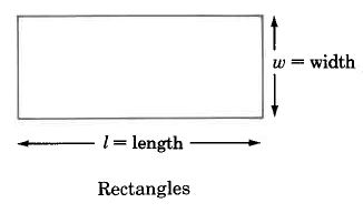 Rectangles, a four-sided polygon, have a width, w, in this case the vertical side, and a length, l, in this case the horizontal side.