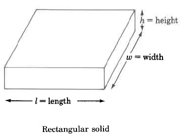 A rectangular solid, with length l, width w, and height h.