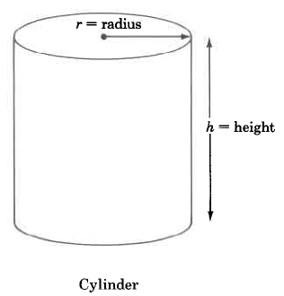 A cylinder with height h and radius r.